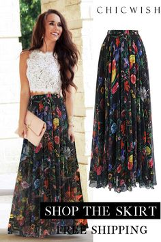 Tropical Flowering Watercolor Maxi Skirt in Black Simple Dresses, Casual Dresses, Fashion Dresses, Maxi Skirt Outfits, Dress Skirt, Long Maxi Skirts, Prom Dress, Spring Dresses, Spring Outfits