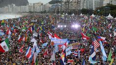 Crowds on Copacabana Beach, Rio de Janeiro, for the opening ceremony of World Youth Day