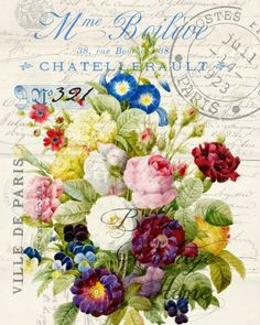 Botanical French Floral Bouquet Print
