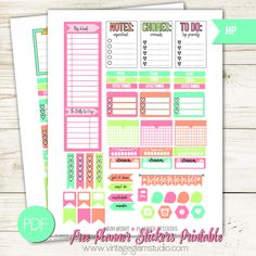 Neon Bright Planner Stickers - Free Printable
