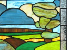 Stained Glass Window Panel Green Blue by FleetingStillness on Etsy
