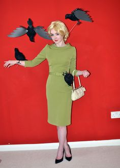 Tippi Hedren in The Birds Halloween Costume - I like the wired birds on this one!