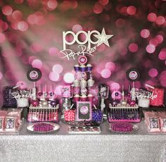 POP-arazzi Dessert Bar with backdrop from Bubblegum Backdrops @Bubblegum Backdrops and silver sequin table linen by @Candy Crush Shop