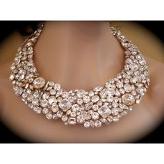 Chunky Swarovski Crystal Bridal Statement Necklace by The Crystal Rose Wedding Jewelry found on Polyvore