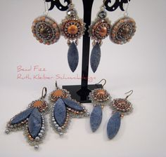 Bead Embroidery earrings by Ruth Kleiber (Bead Fizz), Germany