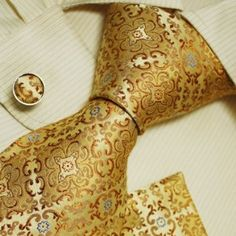 Gold Pattern Ties for Men Father's Day Gift Ideas Accessories Silk Necktie Cufflinks Set One Size Gold: Clothing Sharp Dressed Man, Well Dressed Men, La Mode Masculine, Cufflink Set, Tie And Pocket Square, Pocket Squares, Gold Pattern, Suit And Tie, Gentleman Style