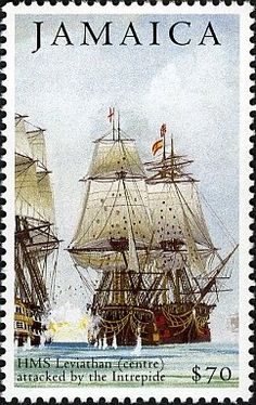 Stamp: HMS Leviathan (Jamaica) (Bicentenary of the Battle of Trafalgar issue)) Mi:JM Commonwealth, Postage Stamp Collection, Ship Paintings, Wooden Ship, Stamp Collecting, Pin Collection, Postage Stamps, Sailing Ships, Battle