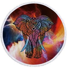 This trendy & fashionable Indian elephant roundie (round towel) can also be used as a shawl, throw, tablecloth, or even a wall tapestry!  #roundie #roundtowel #indian #elephant #flowers #boho #bohemian #trendy