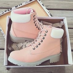 There is 1 tip to buy shoes, pink, timerland, pastel, timberlands. Yellow Boots, Pink Boots, Orange Shoes, Cute Boots, Dream Shoes, Pretty Shoes, Fasion, Me Too Shoes, Combat Boots