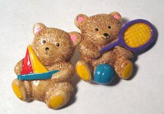 Lot 2 Teddy Bear Realistic Buttons ~ Bears Just Want to Have Fun ~ Sports Boat in Collectibles, Sewing (1930-Now), Buttons, Plastic | eBay