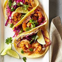 Shrimp Tacos with Lime Slaw - Made this... very easy, very good. Perfect for summer company.  I also seasoned salmon the same as shrimp for variety and choice between fish/shrimp tacos.