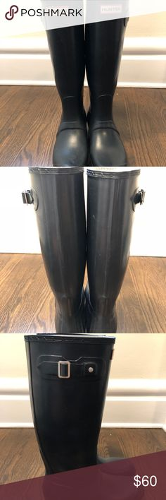 Tall Hunter Rain boots Gently used navy hunter rain boots. They are matte, not gloss. Hunter Shoes Winter & Rain Boots