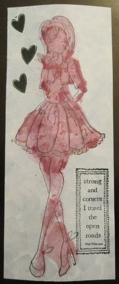 Everything 4 Scrapbooking: Prima Doll Masking-stamp on scrap sheet and then cut out; use the background as a mask, then spritz with dye; lastly, offset stamp over the dye image