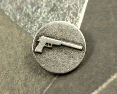 Muffler Pistol Metal Buttons , Antique Silver Color , Shank , 0.79 inch , 6 pcs by Lyanwood, $4.00
