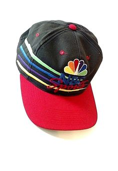 new style df96a 61553 Details about NBC Sports Snapback Cap Hat by Sports Specialties Peacock  Logo Sharp ! Black Red