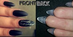 """Inspired by Lana Del Rey's """"trust no one"""" tattoo. Peek-a-boo Stilletto nails. Matte black polish on the front with silver letters. Shiny silver polish on the back. Unique style to make Both sides of nails look good. Suggest my next nail design! Need more unique ideas!"""