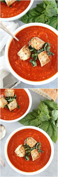 Roasted Red Pepper Tomato Soup Recipe on twopeasandtheirpod.com You can make this pantry friendly soup in under 30 minutes! It is great with crusty bread or a grilled cheese!
