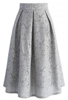 Floral Refinement Airy Pleated Skirt in Grey - Retro, Indie and Unique Fashion