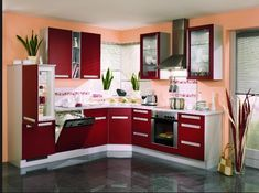 Contemporary Painted Kitchen Cabinets – Red Color Concept