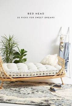 Formed from naturally durable rattan reeds, this curving daybed nods to British colonial furniture, providing a sturdy addition to your living space that doesn't take up too much visual weight. Hanging Furniture, Rattan Furniture, Hanging Chair, Cheap Furniture, Unique Furniture, Furniture Nyc, Furniture Websites, Furniture Removal, Inexpensive Furniture