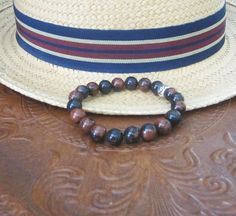 Natural Mahogany Obsidian Men's Bracelet Stretch Bracelet Earthtone Unisex http://etsy.me/29XISbo via @Etsy #mensbracelet