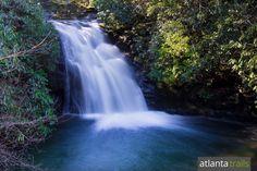 The upper Blue Hole Falls waterfall at High Shoals Falls trail near Helen, Georgia