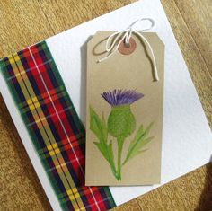 Tartan thistle card blank for any occasion by onelittlepug on Etsy, $3.00