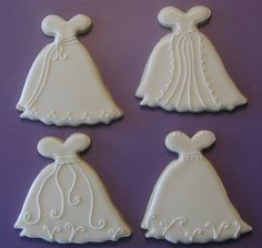 Wedding Dress Cookies!  They would be really cute decorated as princess gowns for a little girl's Princess Party!