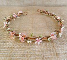 bridal circlet, pink flower girl headband, bridal flower halo, wedding hairpiece - LYLA ROSE- mauve pink and green, woodland wedding, floral...