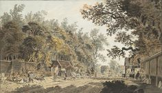 A coach and four arriving at a tollgate, London / Aquarell, um James Miller, Sotheby's Romance Film, Number 10, Historical Romance, London, Embedded Image Permalink, 18th Century, Transportation, Have Fun, History