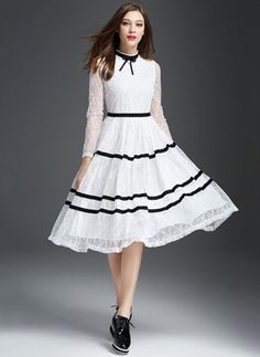 Lace Stripe Long Sleeve Mid-Calf Casual Dresses