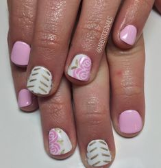 Short Nail Designs, Colorful Nail Designs, Cute Nail Designs, Luv Nails, Fancy Nails, Gorgeous Nails, Pretty Nails, Rose Nail Design, Rose Nails