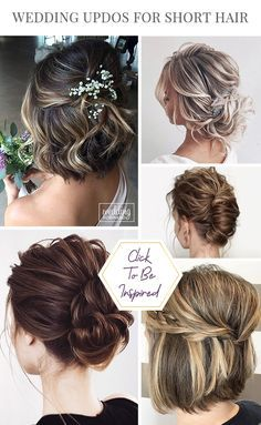 Short Hair Updo, Short Wedding Hair, Wedding Hair Down, Wedding Updo, Bridal Hairstyles, Easy Hairstyles, Low Bun Tutorials, Salon Hair Color, Church Wedding Decorations
