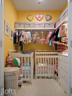 Nursery in a closet? Looks pretty smart and cute, if you are short on space.