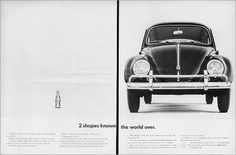 """1962 VW Volkswagen Beetle & Coca-Cola """"2 Shapes Known the World Over"""""""