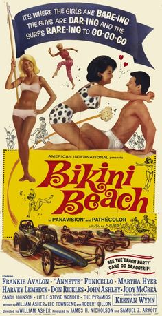 1964 Bikini Beach Annette Funicello and Frankie Avalon vintage movie poster by Christian Montone. 1960s Movies, Old Movies, Vintage Movies, Great Movies, Old Movie Posters, Classic Movie Posters, Classic Movies, Vintage Posters, Surf Posters