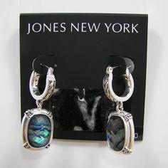 Jones New York Abalone Stone Silver Tone Drop / Dangle Earrings NWT MSRP $24 #JonesNewYork #DropDangle $21.99 with free shipping!!