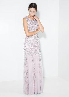Sequin beaded gown - Dresses for Women | MANGO