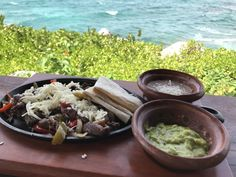 Beef fajitas with refried beans and guacamole in Cancun [3024x4032]