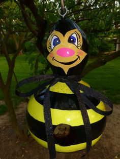 Bumble Bee Birdhouse Hand Painted Gourd Art  by DesignsbySugarbear, $49.99 Etsy