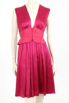 Zac Posen Raspberry Silk Corset Waist Sleeveless Dress Size 4 #ZacPosen #TeaDress