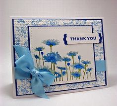 Stampin' Up! ... handmade Thank You card ... monochromatic blues .. luv how she watercolor stamped the daisies ... delightful card! ... would be great for Mother's Day too ...