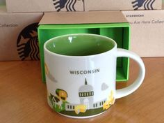 "Starbucks Mugs ""You Are Here"" series Wisconsin Edition Brand New In Mug Gift Box"