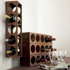 Shesham Wall Mount-Stacking Single Wine Rack.  Like A Chance of Showers on facebook! http://www.facebook.com/chanceofshowersonline?ref=tn_tnmn