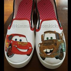 Front view with these two best friends, Lightning McQueen and Mater. #kimmiescustomkicks #handpaintedshoes #kimberlys_creations #customshoes #disneycars #disneycarsparty #disneycarslogo #anythingformyson #lightningmcqueen #towmater #disneycarsshoes #custommade #disneypixarcars #rusteze