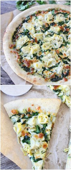 Spinach Artichoke Pesto Pizza on twopeasandtheirpo... One of my all-time favorite pizzas!