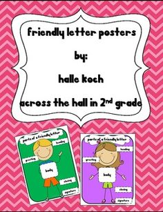 Use these Friendly Letter Posters {Boy and Girl Versions} when teaching the parts of a friendly letter during your writing lessons.These poster. Writing Strategies, Writing Lessons, Writing Resources, Writing Ideas, Letter Writing Format, Writing Words, Writing Letters, Classroom Posters, Primary Classroom