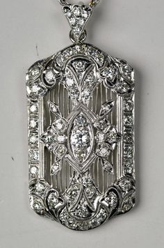 Platinum and Diamond Filigree pendant by greenhilljewelers on Etsy, $4800.00
