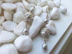 Elegant, Bright, Beautiful Silver Glass earrings by ZaZaJewels on Etsy
