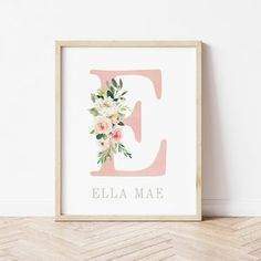 Blush and Gold Floral Nursery Prints Girls Floral | Etsy Gold Nursery Decor, Floral Nursery, Nursery Prints, Nursery Wall Art, Painted Initials, Hand Painted, Blush And Gold, Floral Watercolor, Printing Services